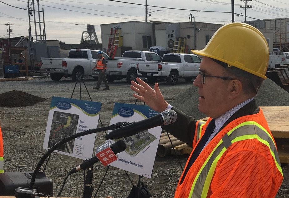 EPA acting Administrator Andrew Wheeler at the construction site for a stormwater treatment plant near Seattle's Duwamish River.