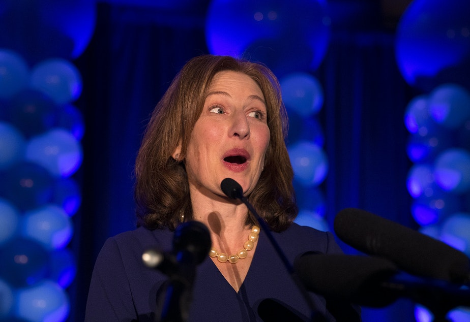 Kim Schrier speaks to a large crowd on Tuesday, November 6, 2018, at the Hilton in Bellevue.
