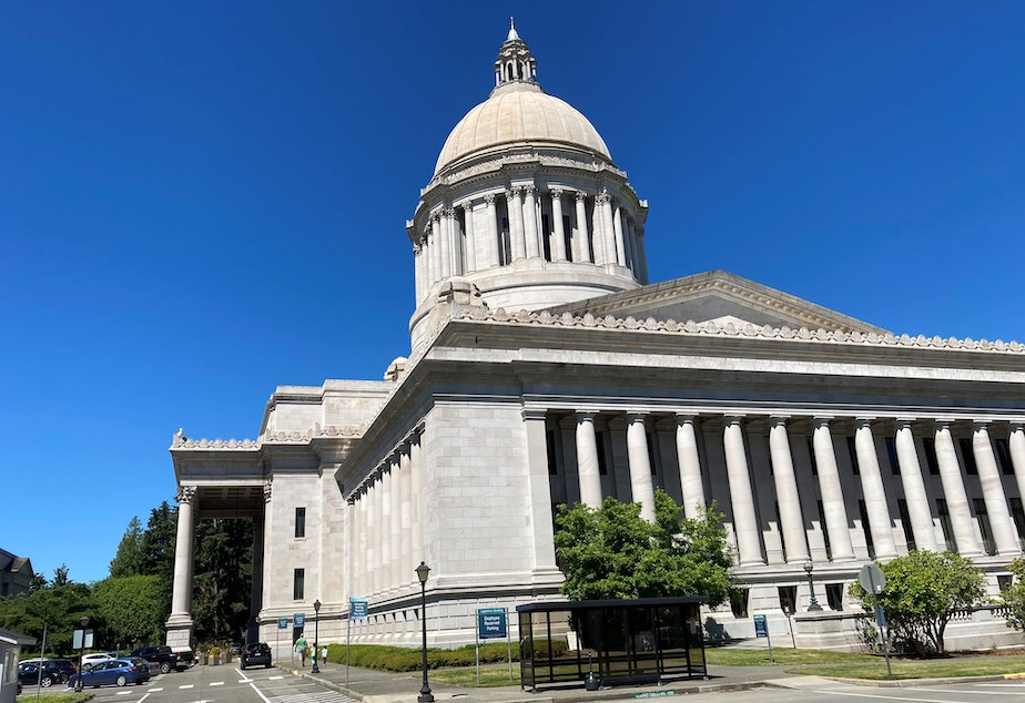 caption: The Washington state Capitol as pictured on a summer day.