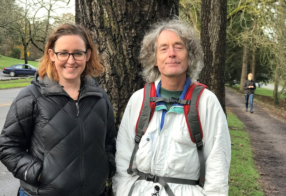 KUOW listener Erika Tobiason and Green Lake tree expert Arthur Lee Jacobson