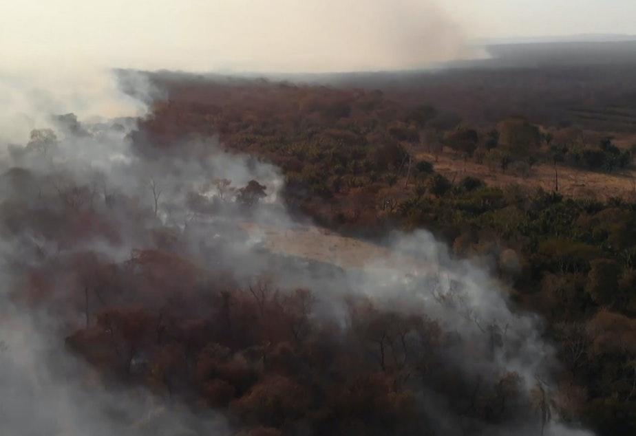 A wildfire blazes near the town of Roboré, in eastern Bolivia's Santa Cruz region, on Aug. 21.