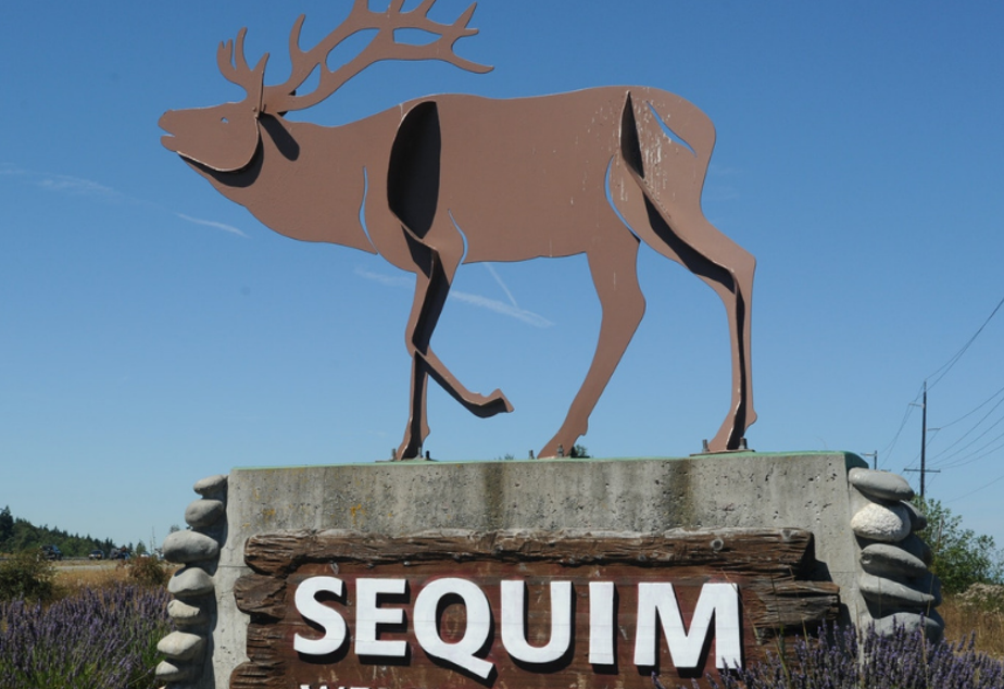 caption: A sign on Highway 101 welcomes visitors to Sequim, Washington.