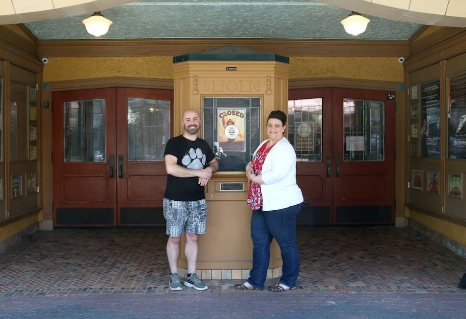 caption: Christopher Sadler and Anji Viola (of Skagit Valley College) co-produce the Skagit Valley Drag Show, photographed outside the Lincoln Theater on 1st Street in Mount Vernon in April, 2021