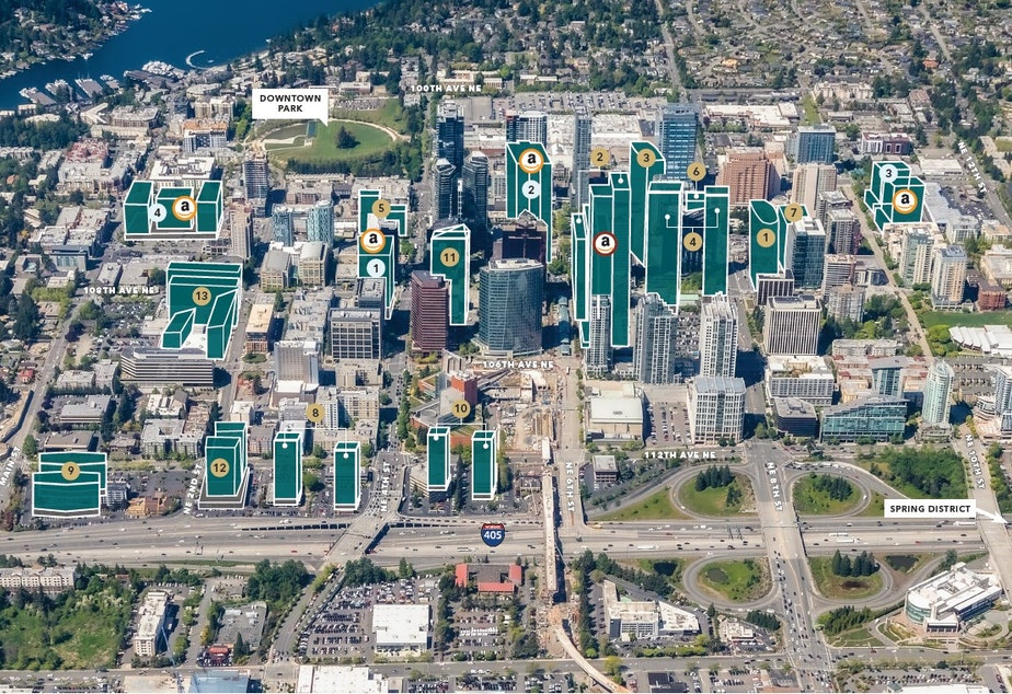 caption: A detail from Kidder Mathews map showing projects under development in Bellevue. The map also highlights Amazon leased and owned properties.
