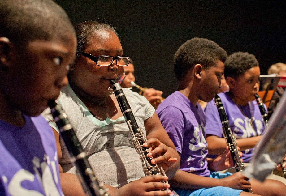 Seattle Music Partners students provides free instruction and instruments to students at low-income schools. The hope is to level the playing field at Washington Middle School and Garfield High, which have renowned music programs.