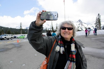 Geologist Carolyn Driedger outside the visitor center at Mount Rainier National Park.