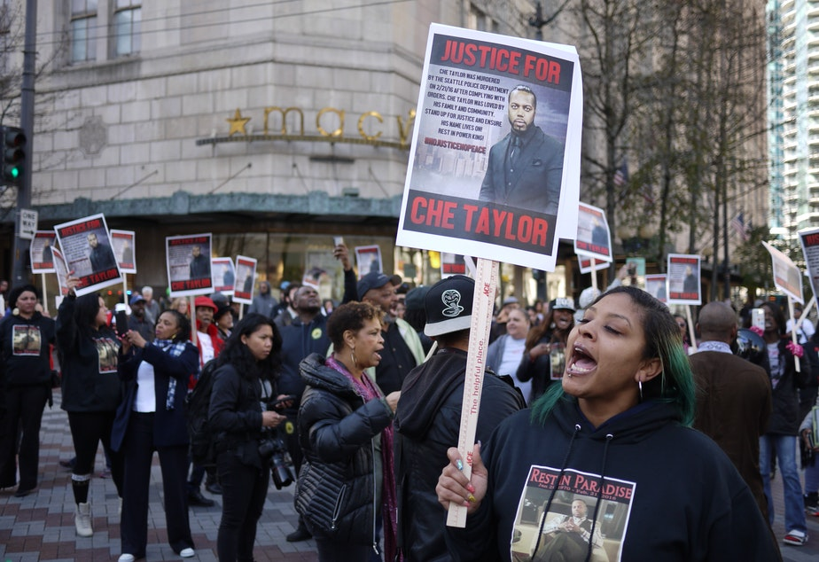 Marchers in Seattle protested the killing of Che Taylor in February 2016.