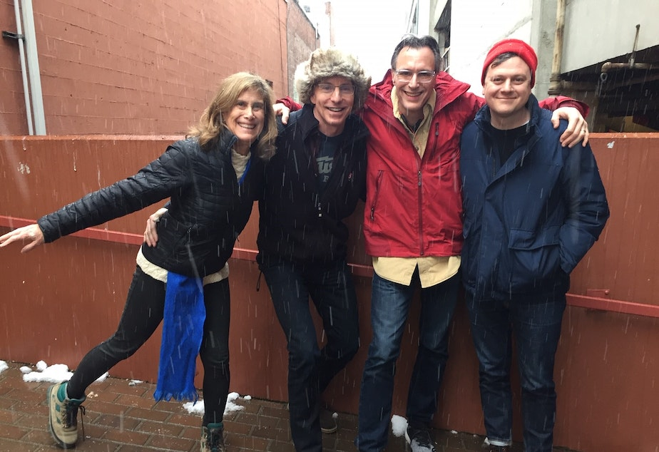 Ready for the snow, Joni Balter, C.R. Douglas, Bill Radke and Luke Burbank [L-R]