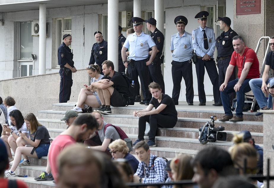 The U.S.-based Free Russia Foundation accuses Russia of exploiting Western legal systems. Above, supporters of arrested journalist Ivan Golunov (freed on Tuesday) gathered at a court building in Moscow.