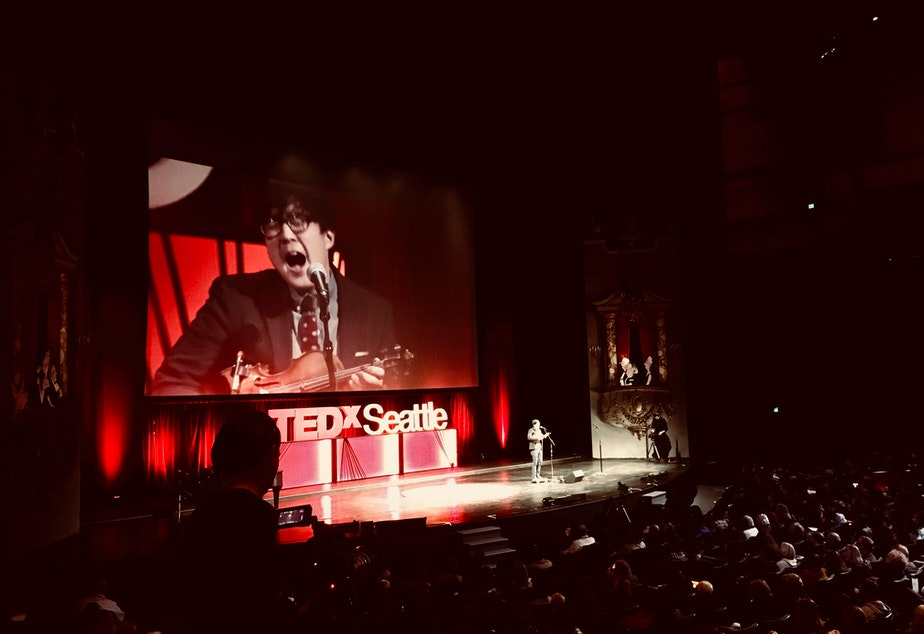 caption: Joe Kye performs at TEDxSeattle at McCaw Hall on November 17, 2018.