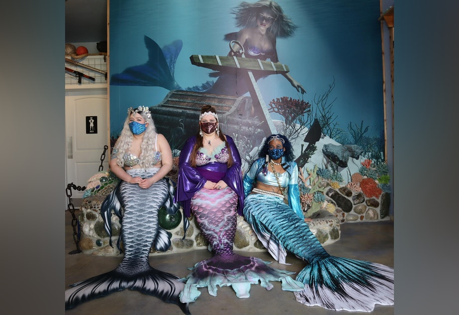 caption: From left, Mermaid Siren Ophelia of Seattle, Mermaid Asherah and Mermaid Merina both of Portland, at the opening of the new International Mermaid Museum near Aberdeen, Washington.