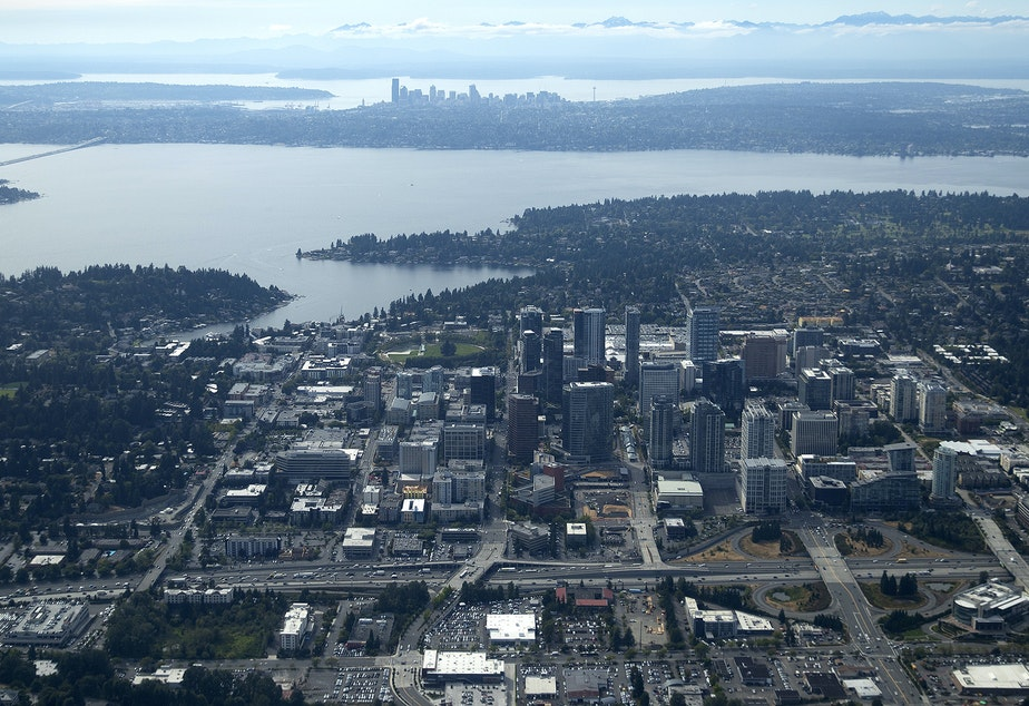 Bellevue and Seattle are separated by Lake Washington. Soon they will be connected by light rail.