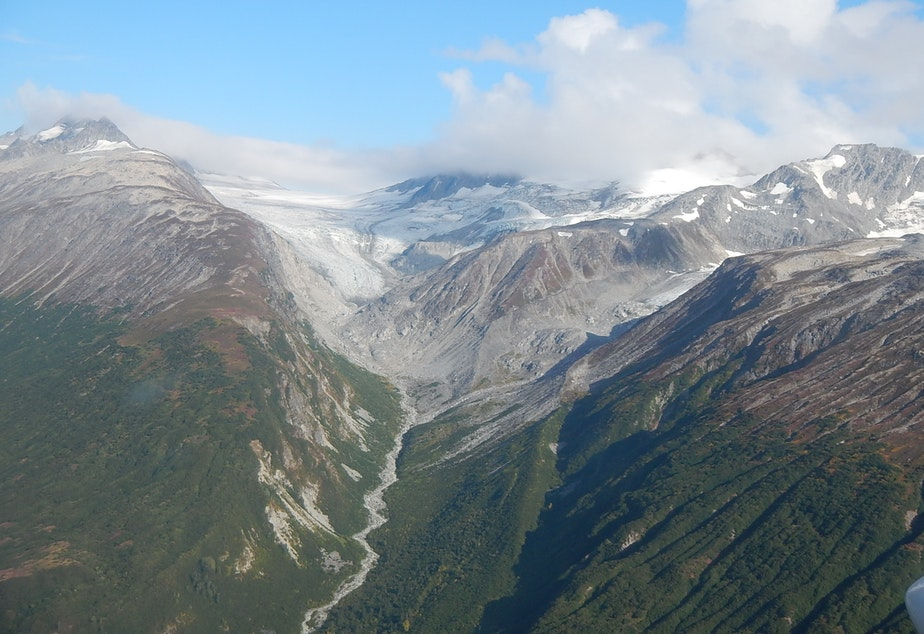 caption: Receding glaciers and newly exposed earth in Alaska's Lake Clark National Park