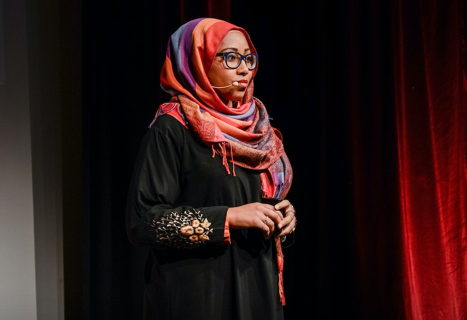 Yassmin Abdel-Magied on the TED stage.