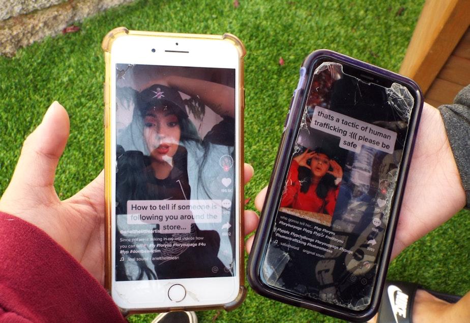 caption: On popular social media platforms like TikTok, teenagers post videos warning other teens of trafficking tactics. But sometimes these tactics aren't true.