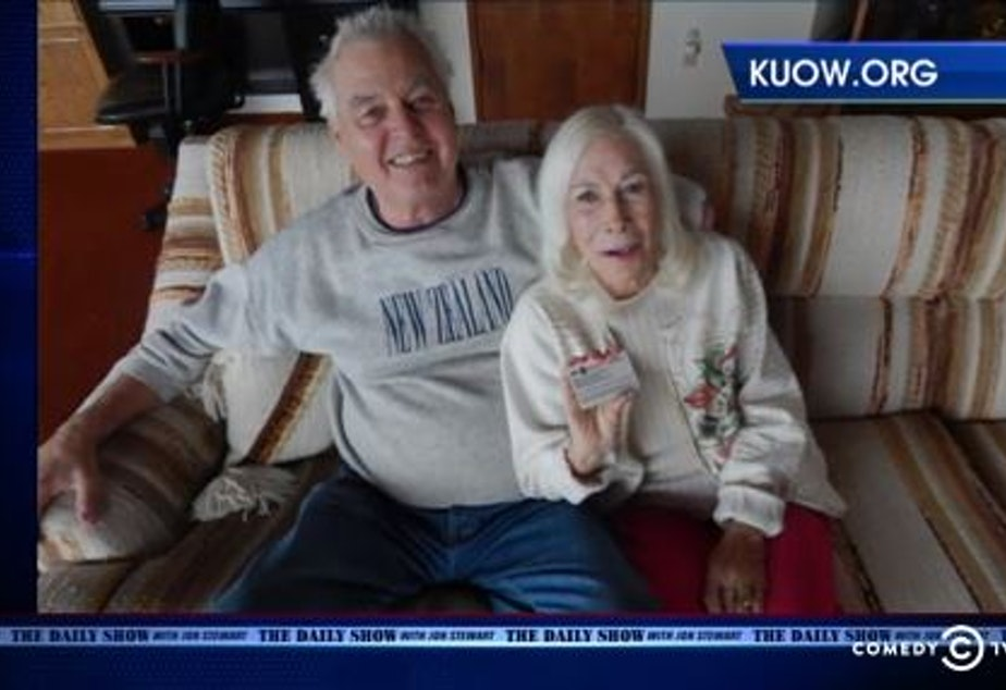 The Daily Show featured KUOW reporter Patricia Murphy's story on 89-year-old Gloria Hoeppner's difficulties with a Veterans Affairs program. She is shown at home with her husband, Earl Kornbrekke.