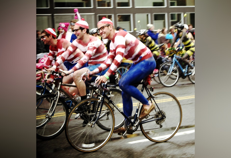 Bikers at the Fremont Solstice Parade have helped you find Waldo en masse.