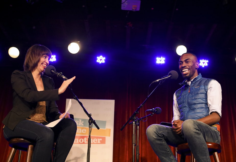 DeRay Mckesson appears on Ask Me Another at the Bell House in Brooklyn, New York.