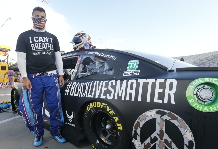 caption: Bubba Wallace gained attention for his Black Lives Matter paint scheme on Wednesday in Martinsville, Va.