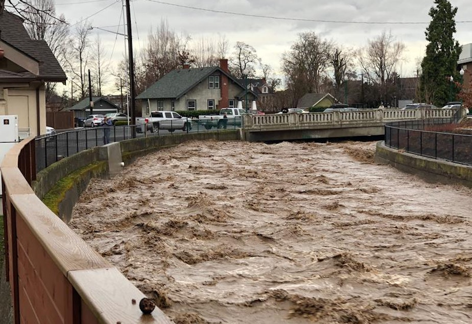 caption: Mill Creek at Whitman College in Walla Walla was running high and brown with quick melt and agricultural runoff on Friday, Feb. 2, 2020.