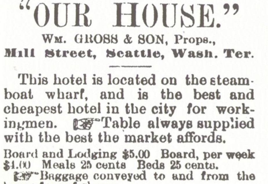 caption: An advertisement in the Seattle Post-Intelligencer in 1883 for William Grose's hotel in what is now downtown Seattle.