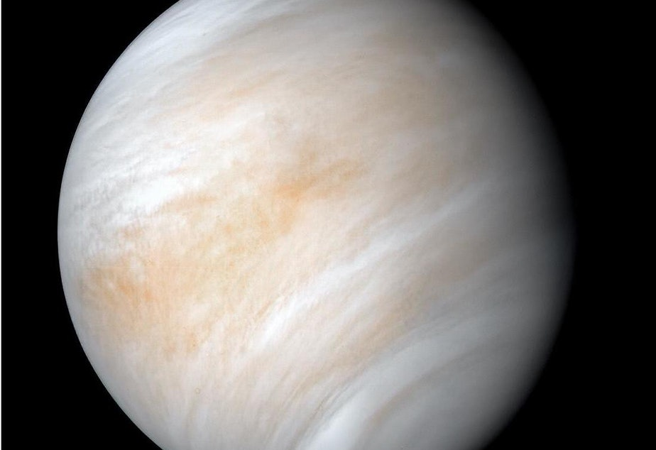 caption: The images used to create this view of Venus were acquired by the Mariner 10 craft on Feb. 7 and 8, 1974. Decades after the Mariner 2 flew by the planet in 1962, much about the planet remains unknown.