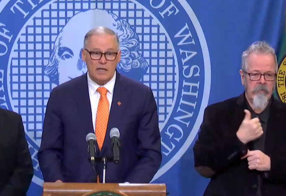 caption: Washington State Governor Jay Inslee speaks at a briefing on the COVID-19 situation in the state, March 5, 2020.