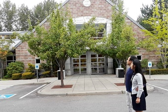 Natasha and Brent Weled in front of the King County District courthouse in Issaquah, where they presented a case against Allied Residential, their former landlord.