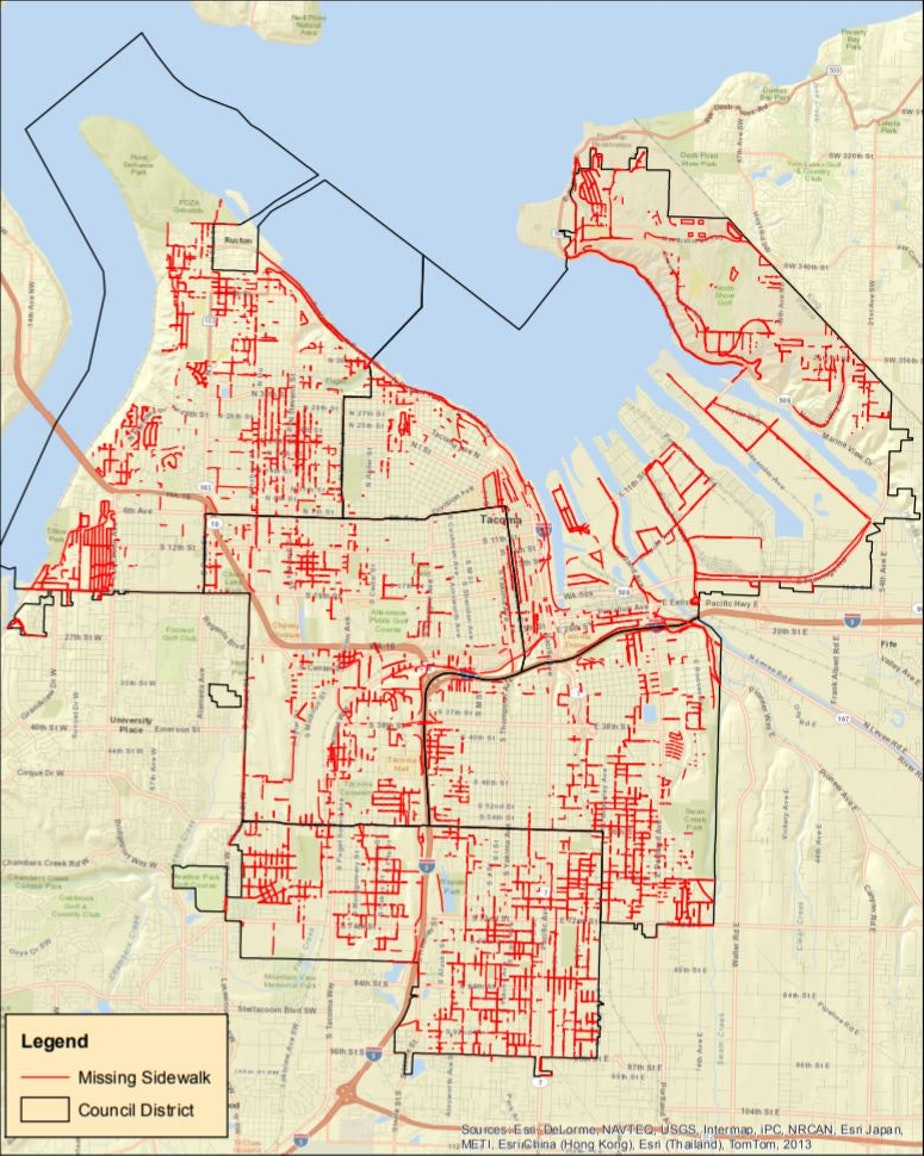 caption: Red lines mark streets in Tacoma that lack sidewalks.