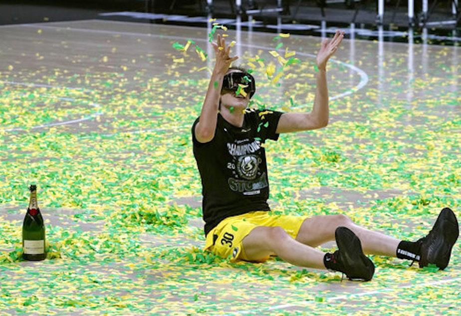 caption: Seattle Storm forward Breanna Stewart celebrates after the team won basketball's WNBA Championship Tuesday, Oct. 6, 2020, in Bradenton, Fla.