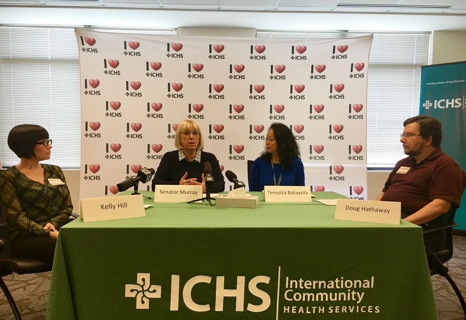 caption: Democratic Washington Senator Patty Murray at International Community Health Services in Seattle, June 16, 2017.