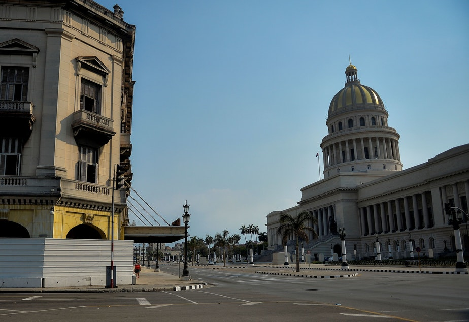 caption: An empty street near the Havana Capitol, in Cuba in May 2020. The Trump administration plans to designate Cuba as a state sponsor of terrorism.