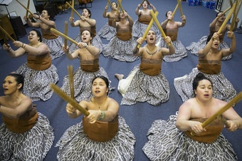 Dancers practice the traditional Kahiko dance that they will perform at the Merrie Monarch Festival, on Thursday, March 22, 2018, at the halau in Federal Way. Tap or click on the first image to see more.
