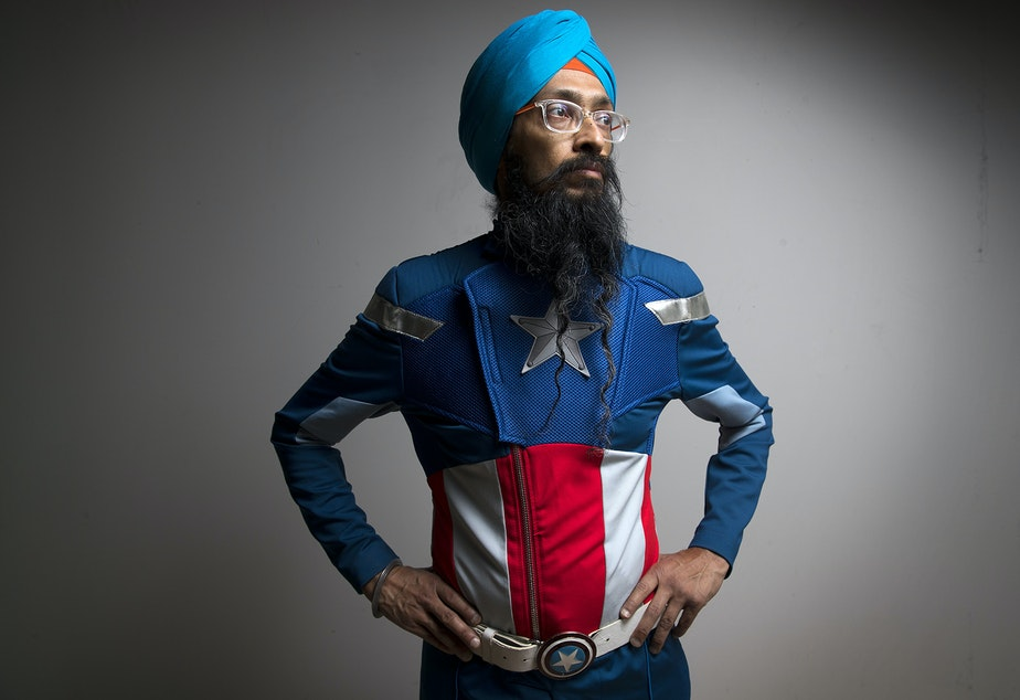 Vishavjit Singh poses for a portrait on Thursday, May 10, 2018, at KUOW Public Radio in Seattle.