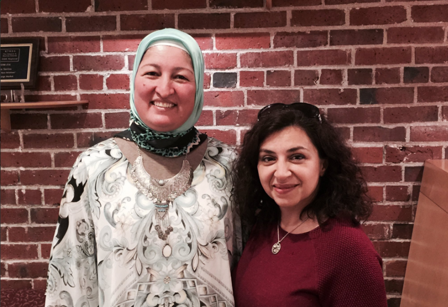 caption: Poets Faiza Sultan and Lena Khalaf Tuffaha at the KUOW studio.