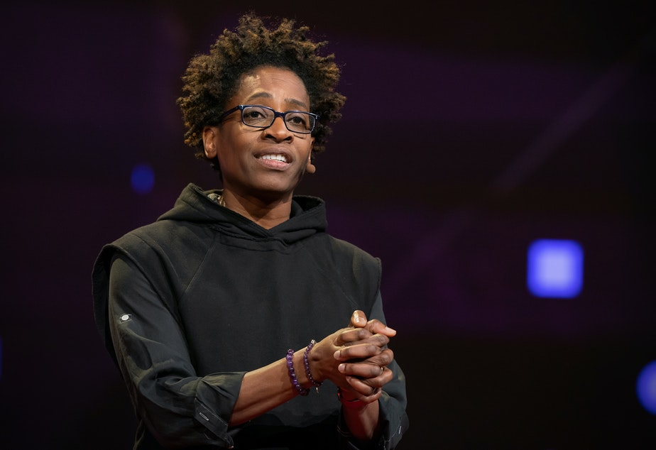 caption: Jacqueline Woodson speaks at TED2019: Bigger Than Us. April 15 - 19, 2019, Vancouver, BC, Canada. Photo: Dian Lofton / TED