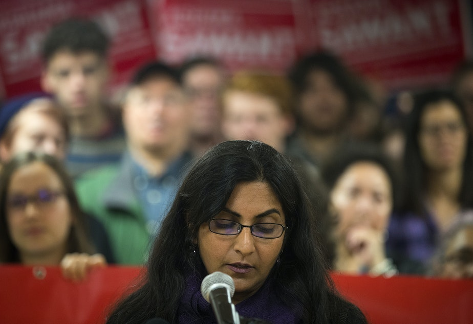 caption: Seattle City Councilmember Kshama Sawant holds a press conference on Saturday, November 9, 2019, at Langston Hughes Performing Arts Institute in Seattle.