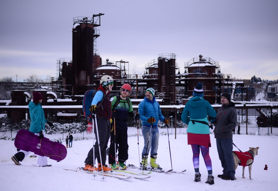 Skiing and snowboarding at Gas Works Park in Seattle on Saturday, Feb. 10, 2019, after the city was hit with six to eight inches of snow.