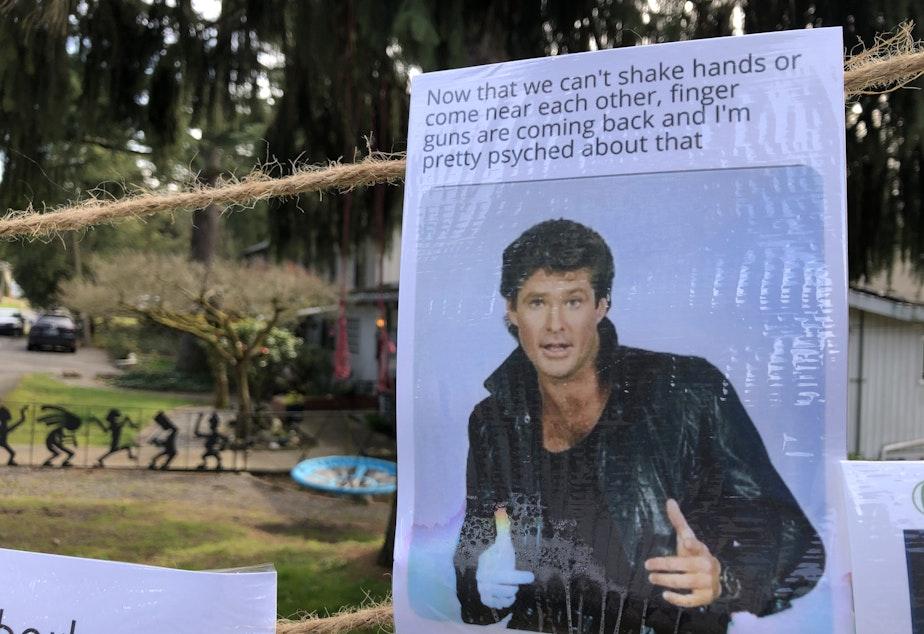 caption: The Joy Board stands on a corner in Seattle's Wedgwood neighborhood.