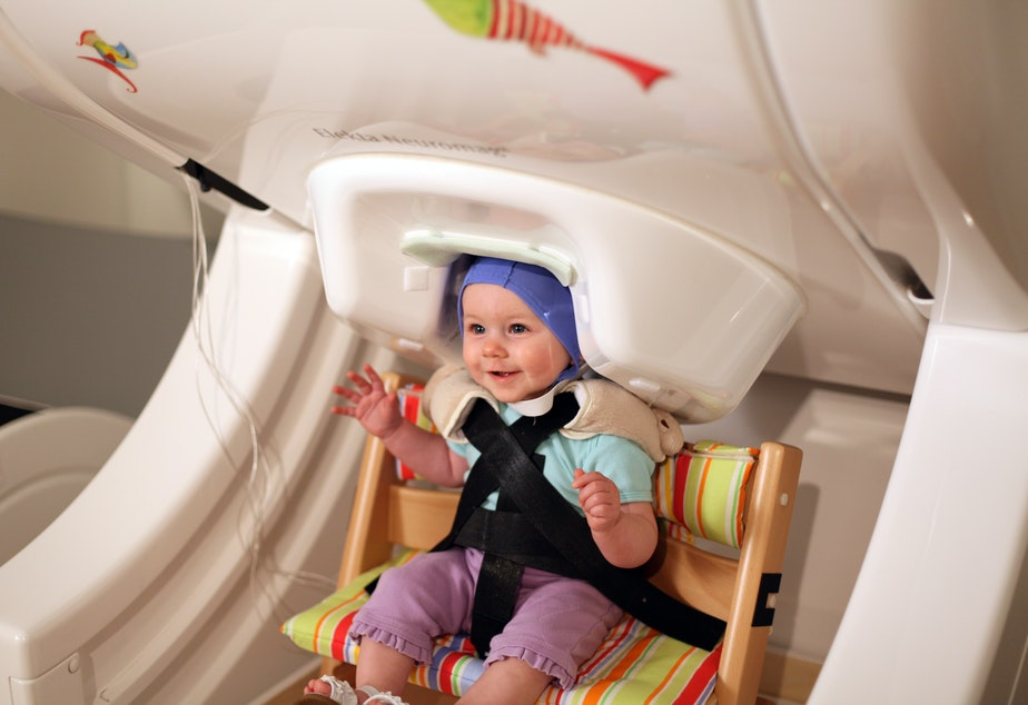 A baby sits in a magnetoencephalography brain scanner at the UW Institute for Learning and Brain Science while listening to vowel sounds.