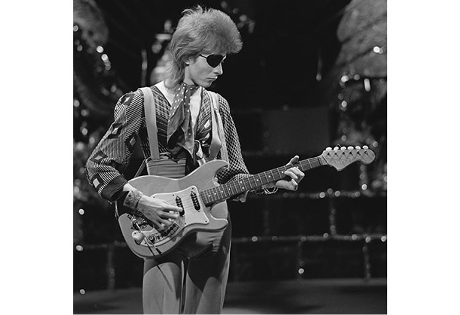 caption: David Bowie, shooting his video for Rebel Rebel in AVRO's TopPop (Dutch television show) in 1974.