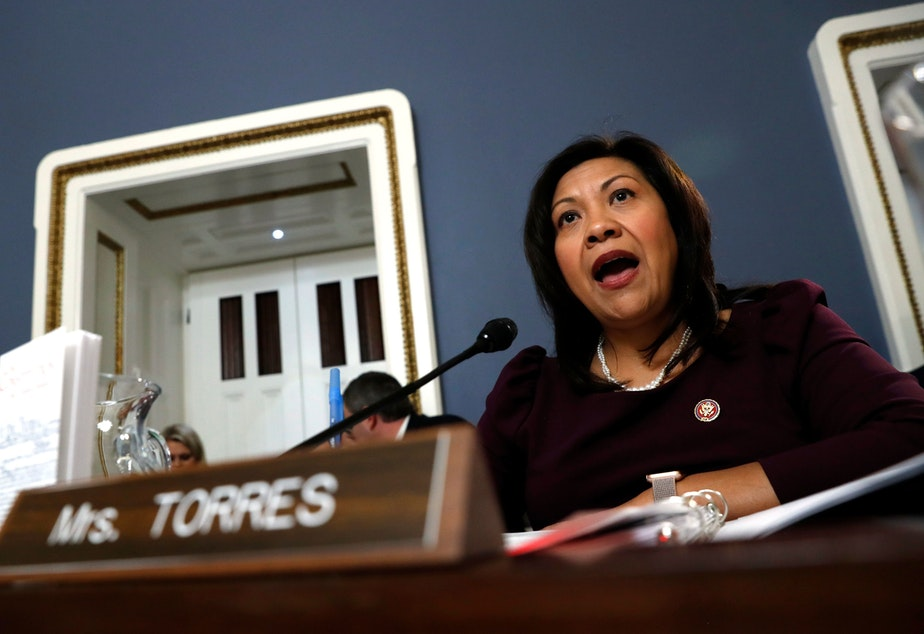 caption: Rep. Norma Torres, D-Calif., seen here during a hearing in 2019, urged her colleagues on Tuesday to support a resolution calling on Vice President Pence to remove Trump from office via the 25th Amendment.