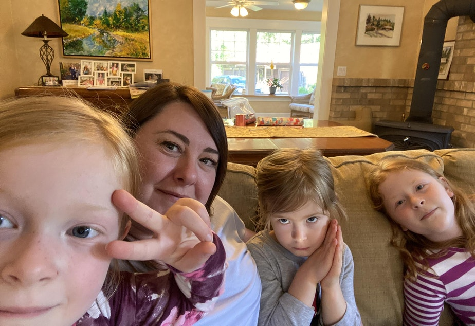 caption: Anna King with her nieces. From left, Lena King, 6, Anna King, Lucy King, 4, and Lily King, 10.