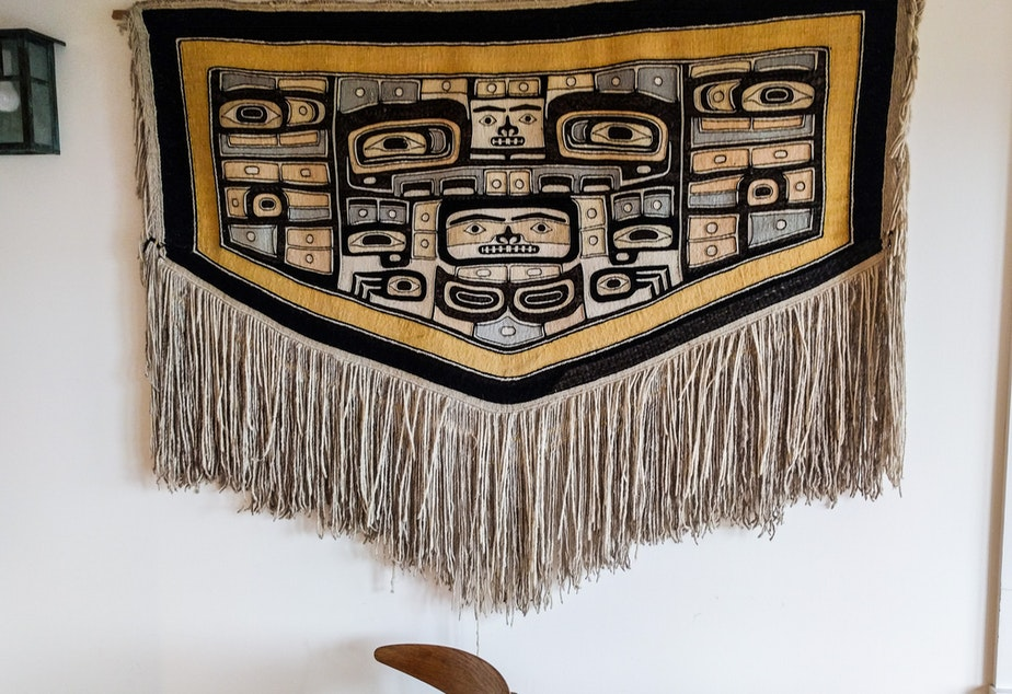 caption: The Chilkat robe that hung over the Jacobsen dining room table for years.