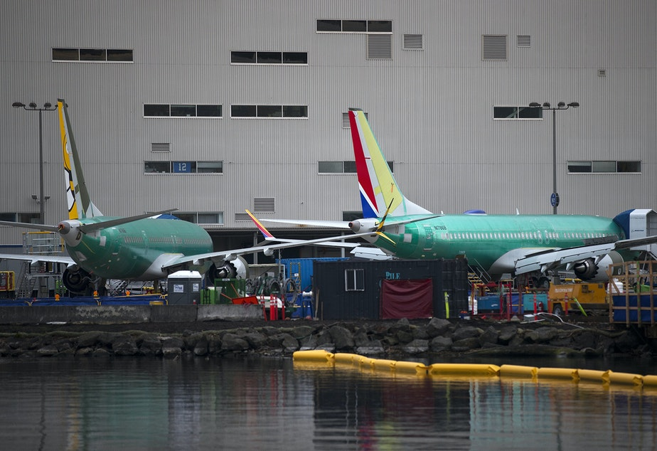 caption: Boeing 737 Max's are shown on Monday, December 16, 2019, at the Boeing Renton Factory in Renton.