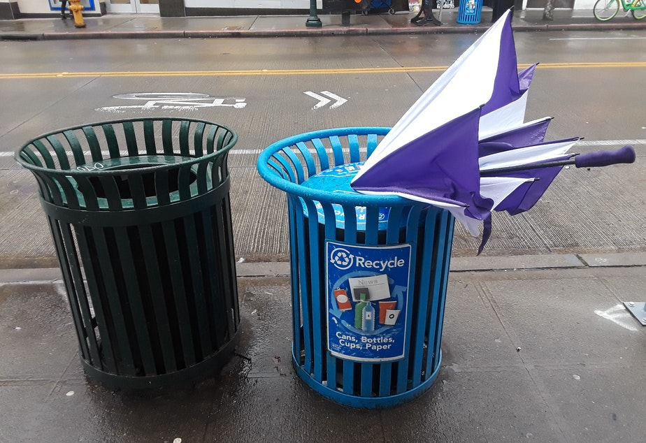 Not recyclable. Why? Because it's an umbrella.