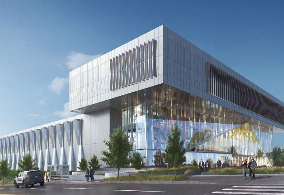 caption: An artist's rendering of the proposed new North Precinct station for the Seattle Police Department.