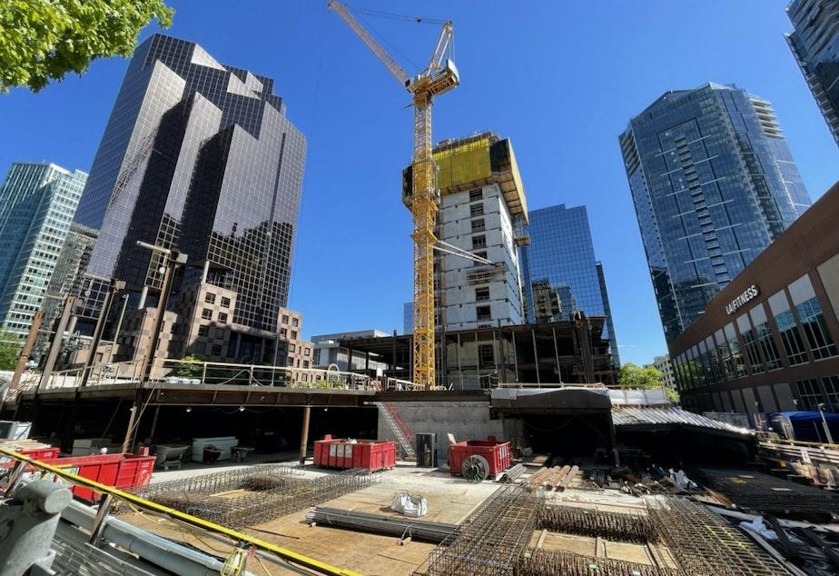 caption: A construction site in downtown Bellevue