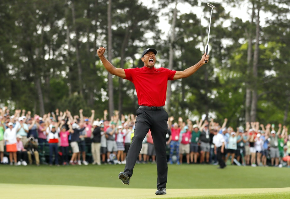 Tiger Woods won his fifth Masters title at Augusta National Golf Club on Sunday, nearly 11 years after his last major win.