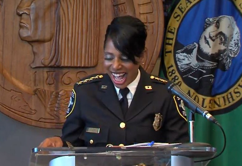 caption: Seattle Police Chief Carmen Best officially announces that she is retiring from the Seattle Police Department, Aug. 11, 2020.